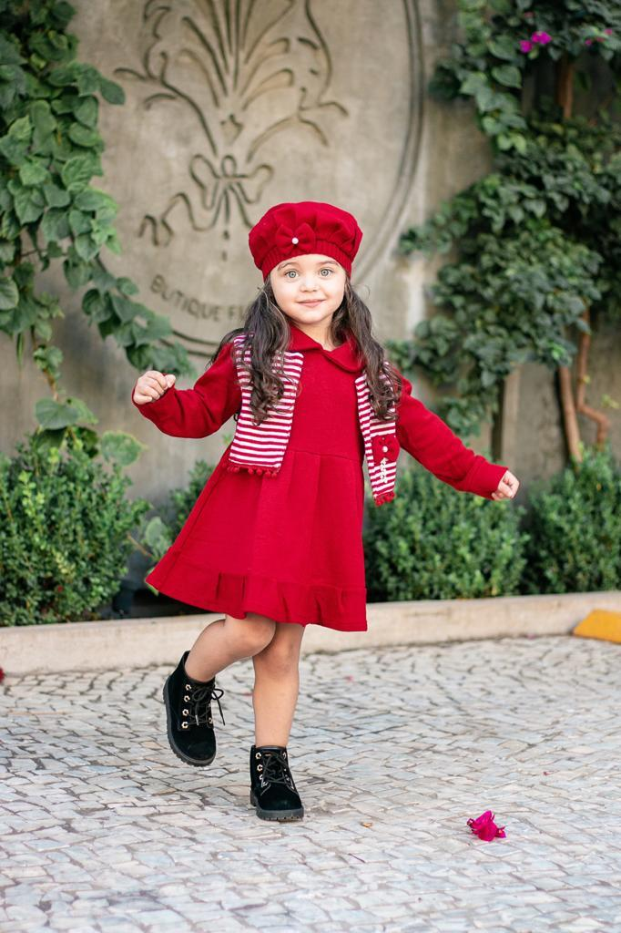 Kit Infantil  Sobretudo  com Boina Colecão Inverno Passarinho kids