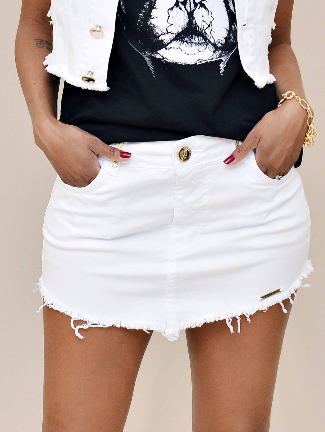 Mini Saia Jeans Branco Nathalie Ferrier