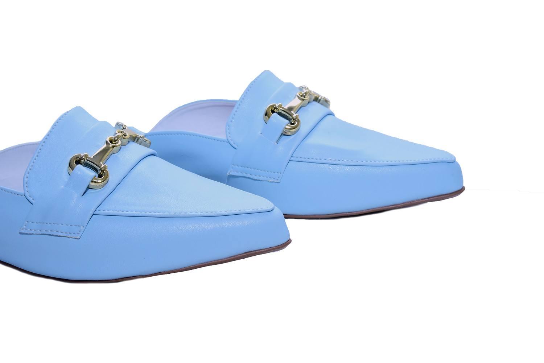 Mule Rasteira Mocassin Azul Bebê Bico Fino - Smart Foot Shoes