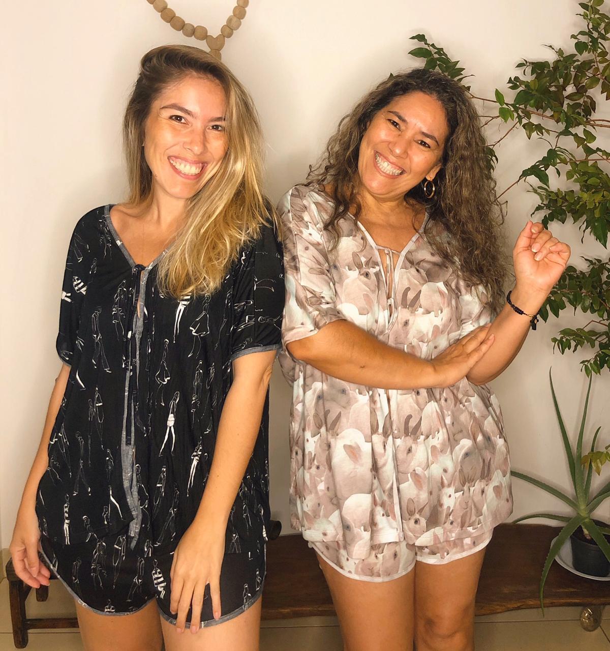 Pijama estampa pessoas - Amarelo Mix