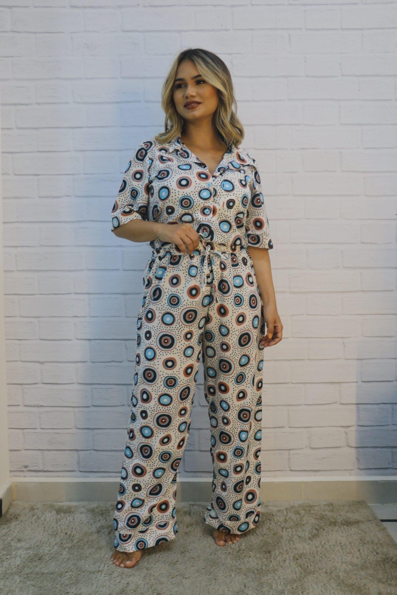 Pijama Manga Longa e Calça Pantalona Sedinha Mon Diê