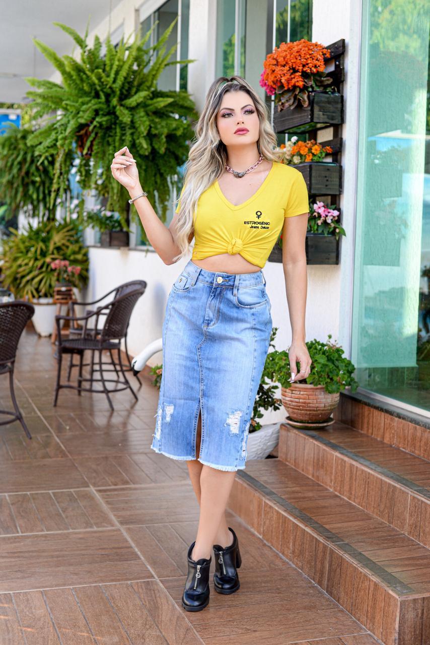 Saia Midi Jeans - ESTROGÊNIO JEANS