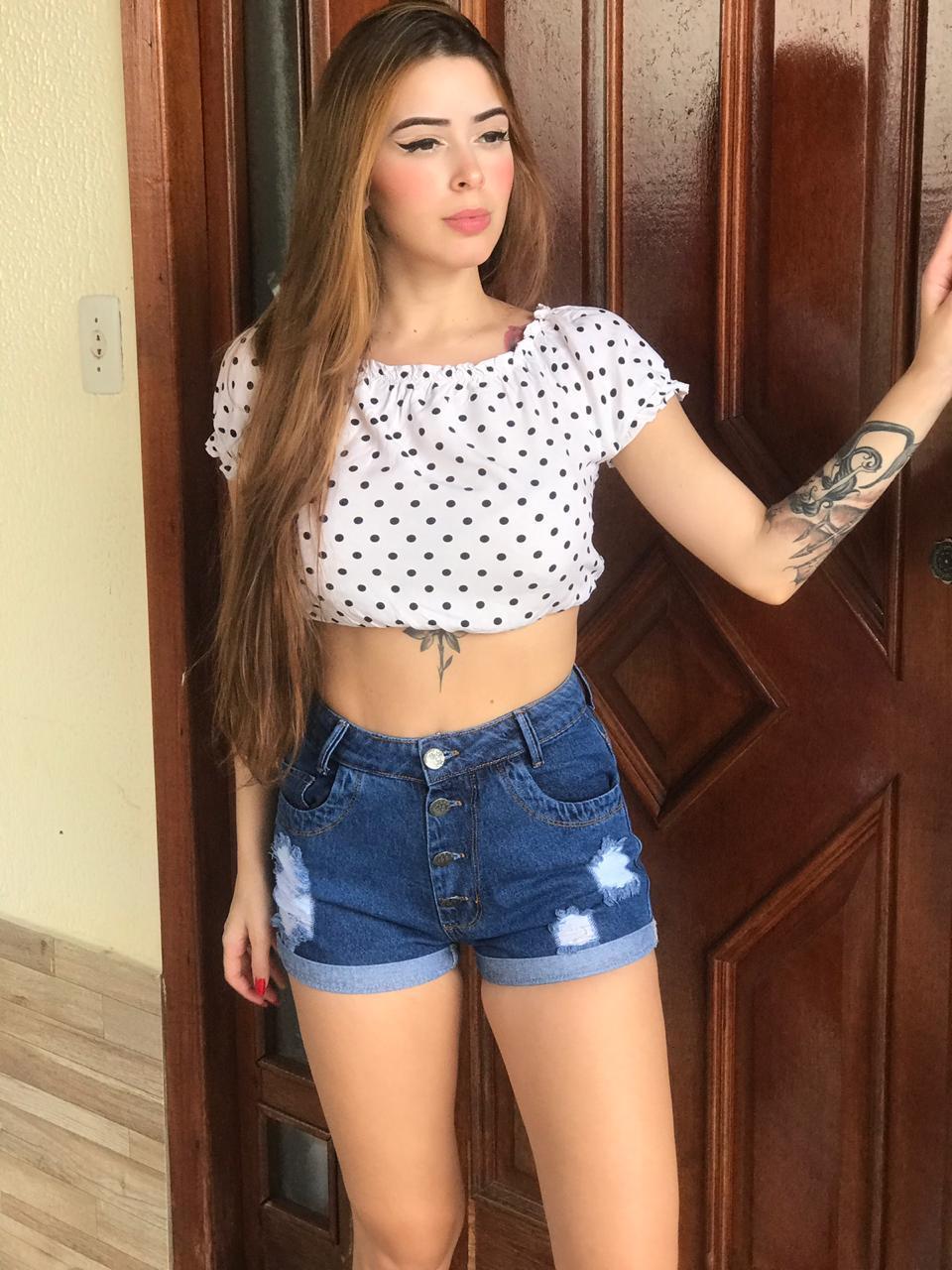 Short Jeans Com Botões Jhemblo