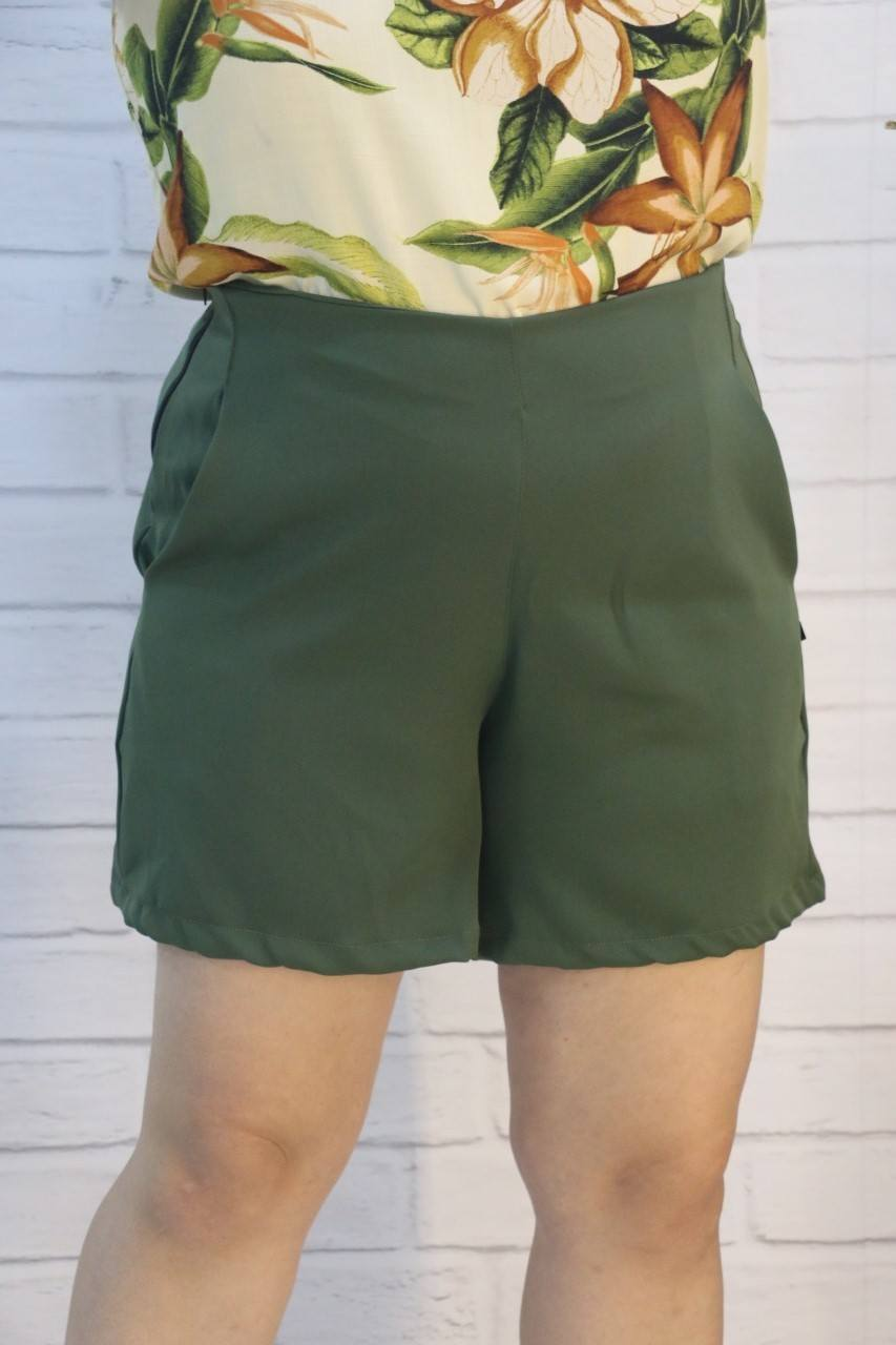Short Seda Verde Macadâmia Fashion