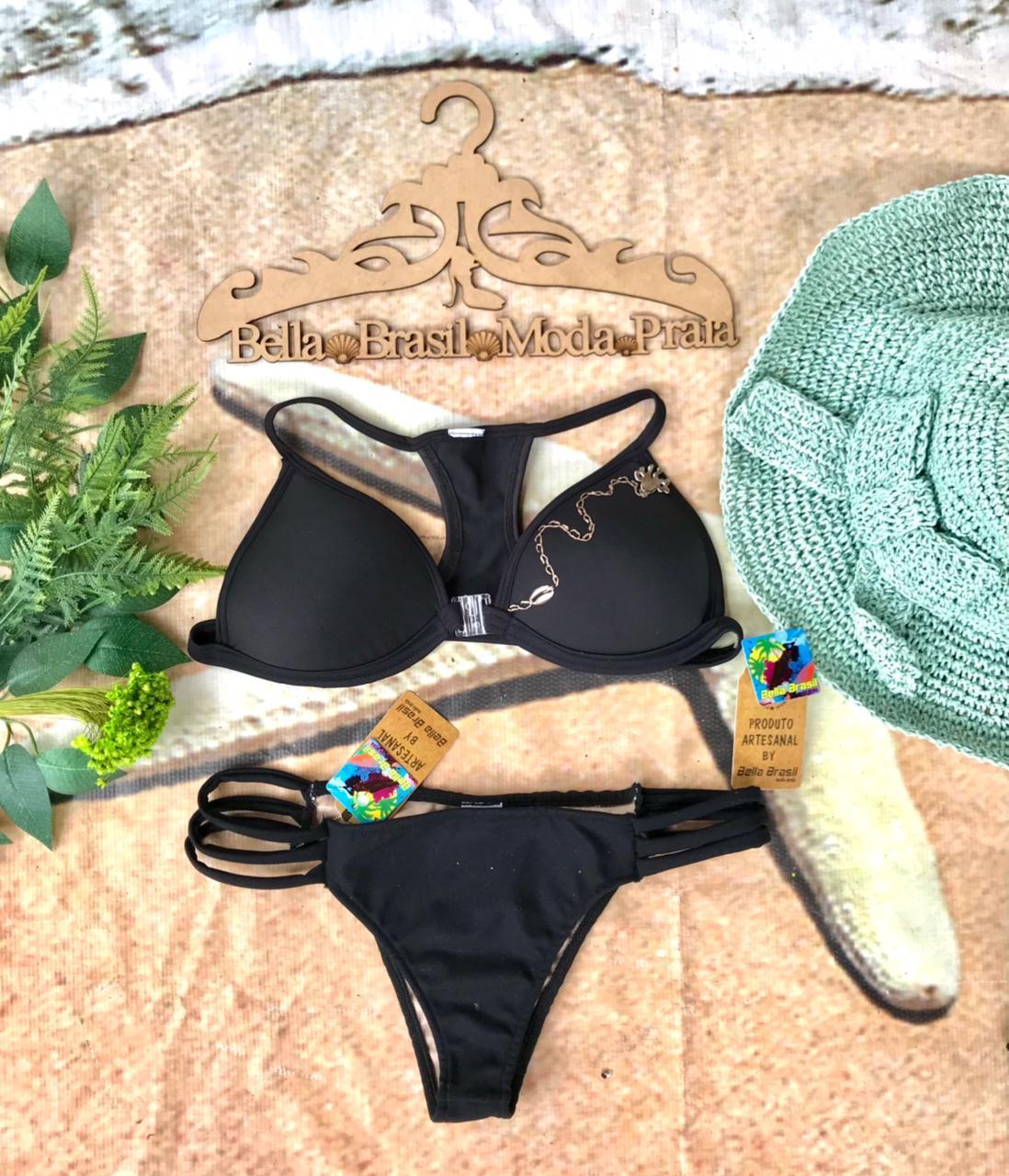 Top bojo bordado com linha encerada e pedrarias com calcinha de tiras finas - Bella Brasil Moda Praia