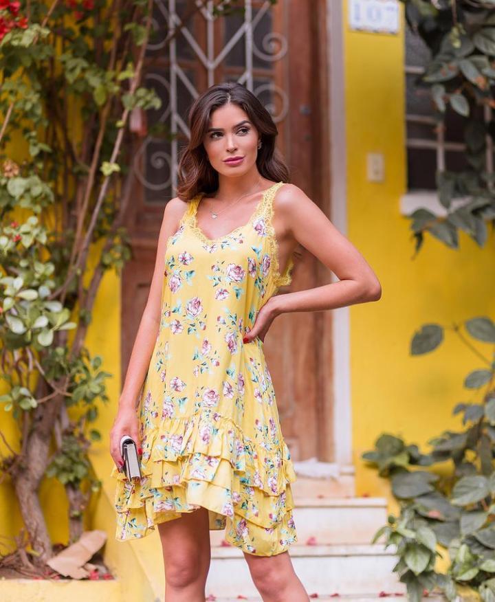 Vesido Amarelo Floral MS Modas