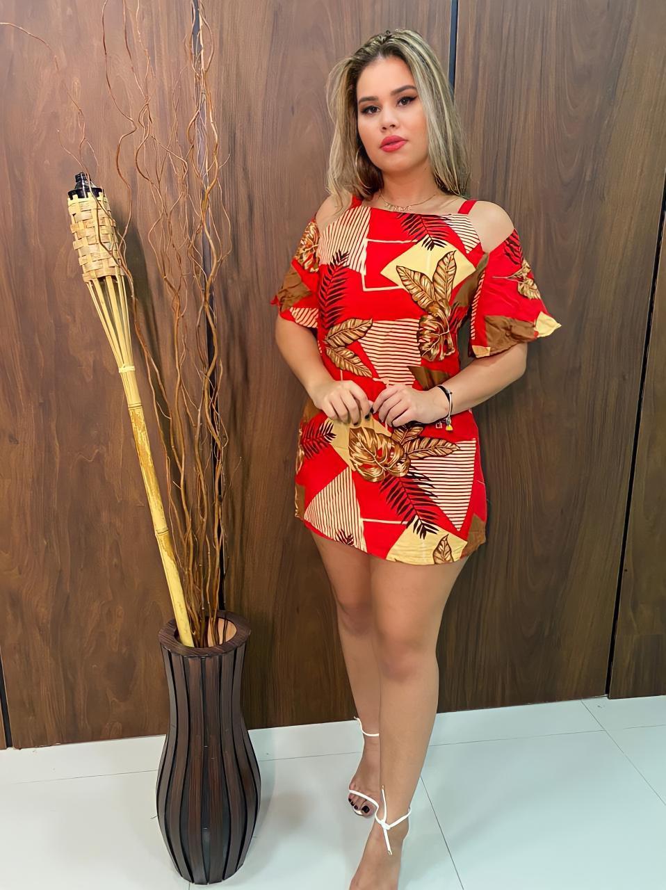 Vestido Estampado com Alça Dupla Lolla