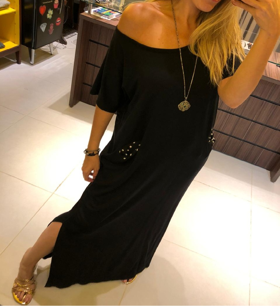Vestido Bolsinho Longo Preto Amarelo Mix