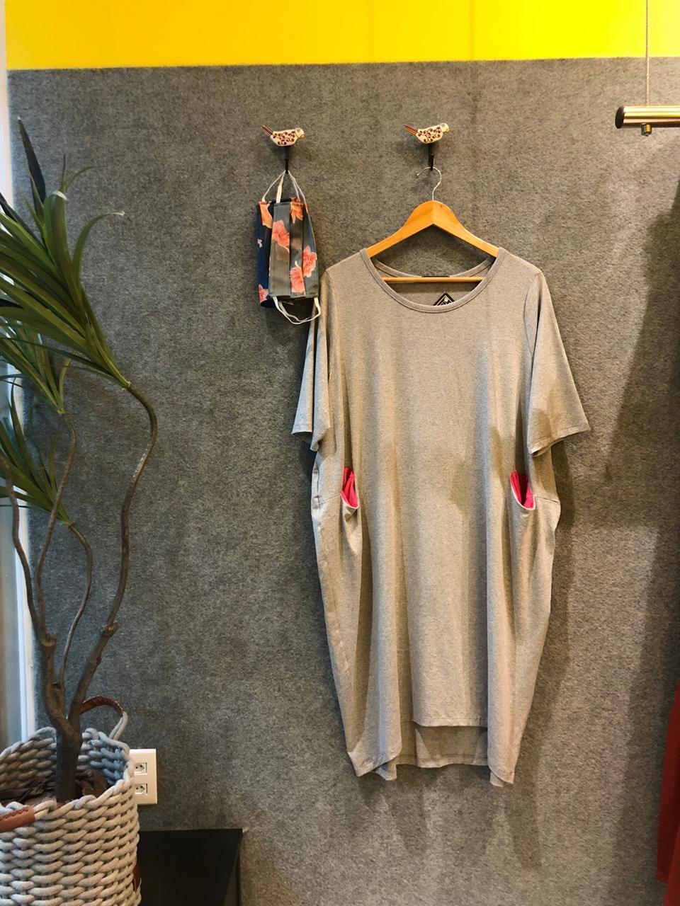 Vestido bolsinho cinza mescla - Amarelo Mix