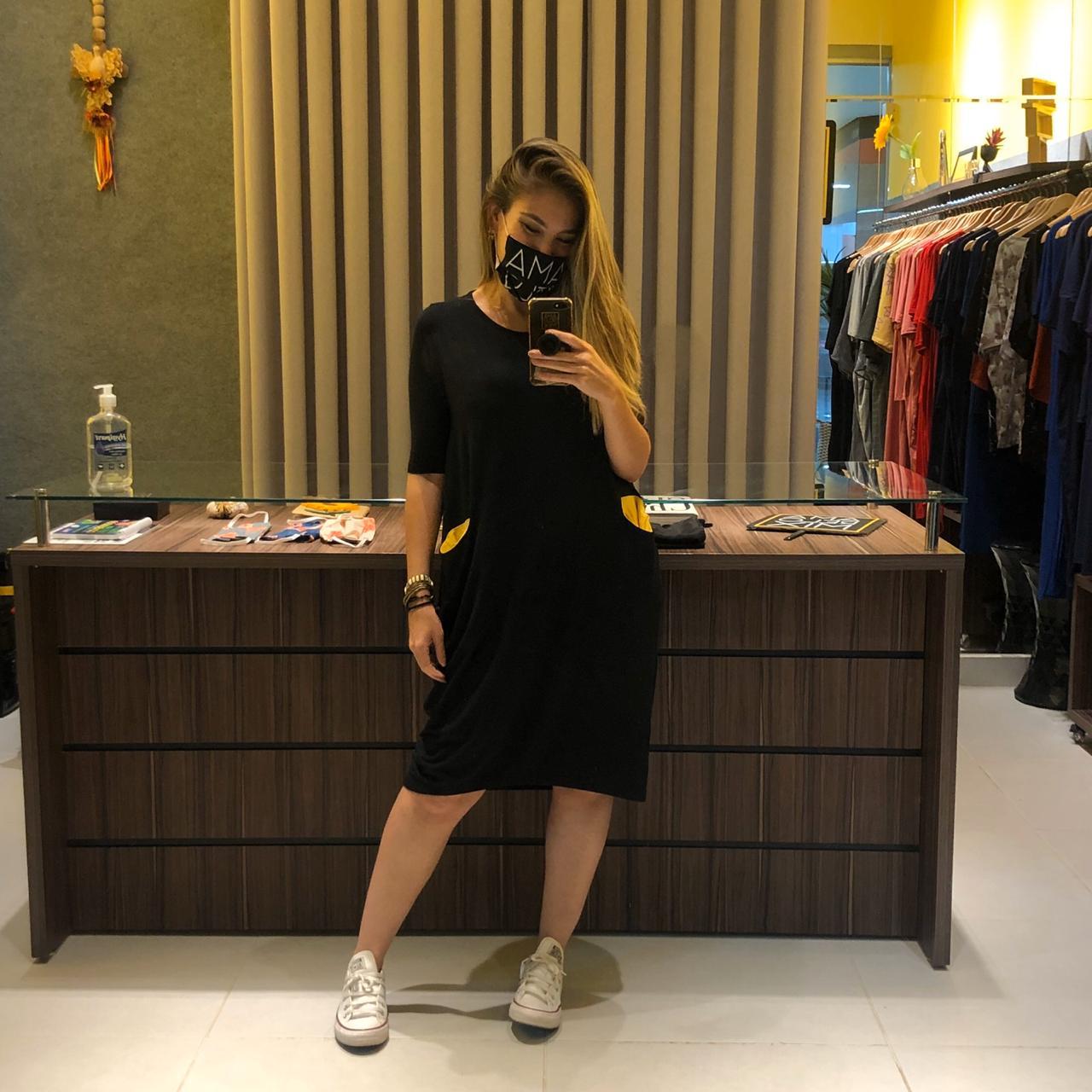 Vestido bolsinho preto - Amarelo Mix