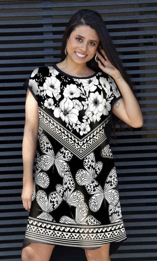 Vestido Plus Size Borboleta e Flores D'Minas