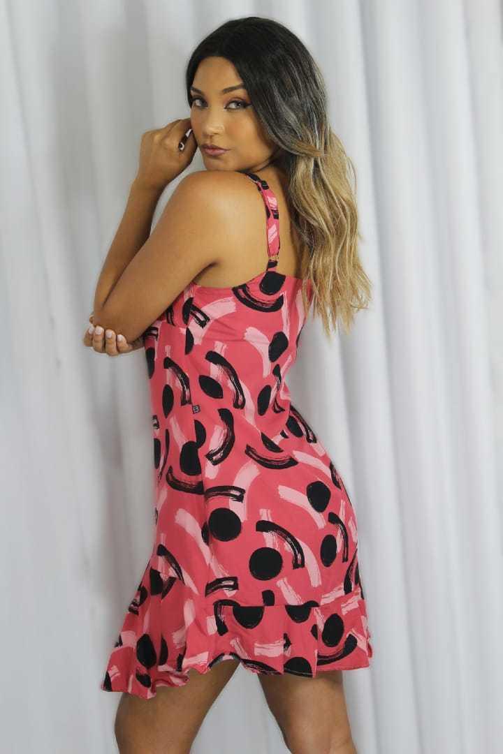 Vestido curto de alça Rosa estampado - BOO