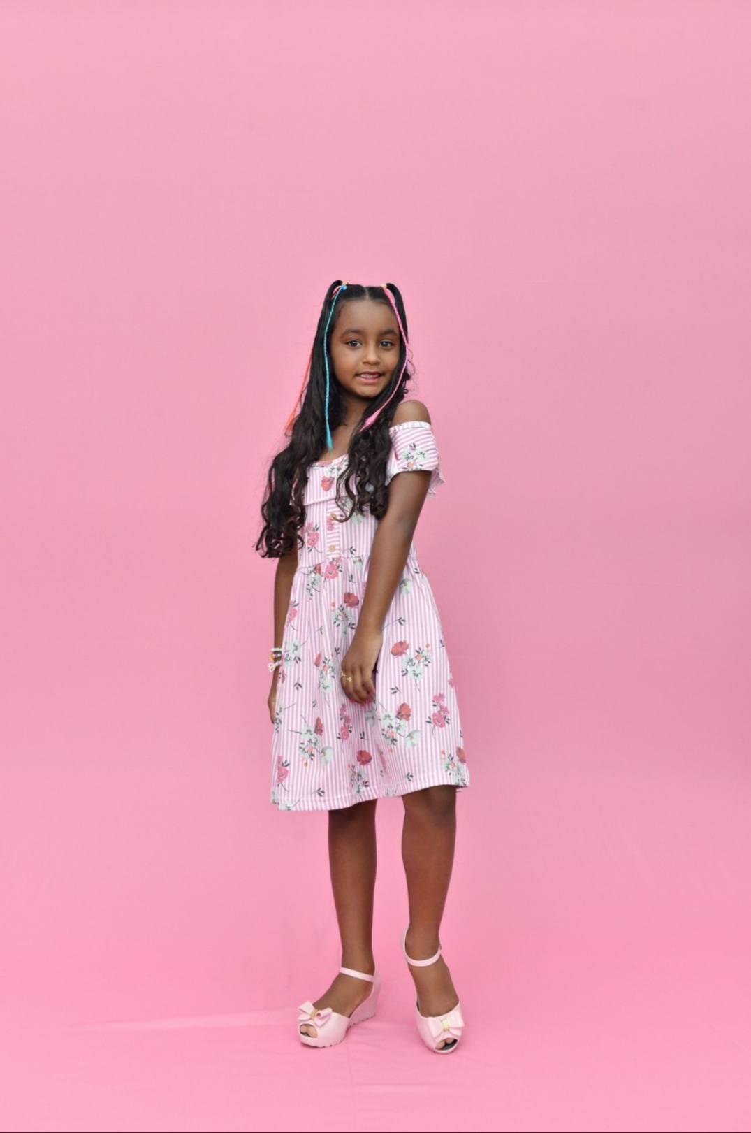 Vestido de alcinha estampado , disponível no rosa e azul .ml - CRUSH KIDS