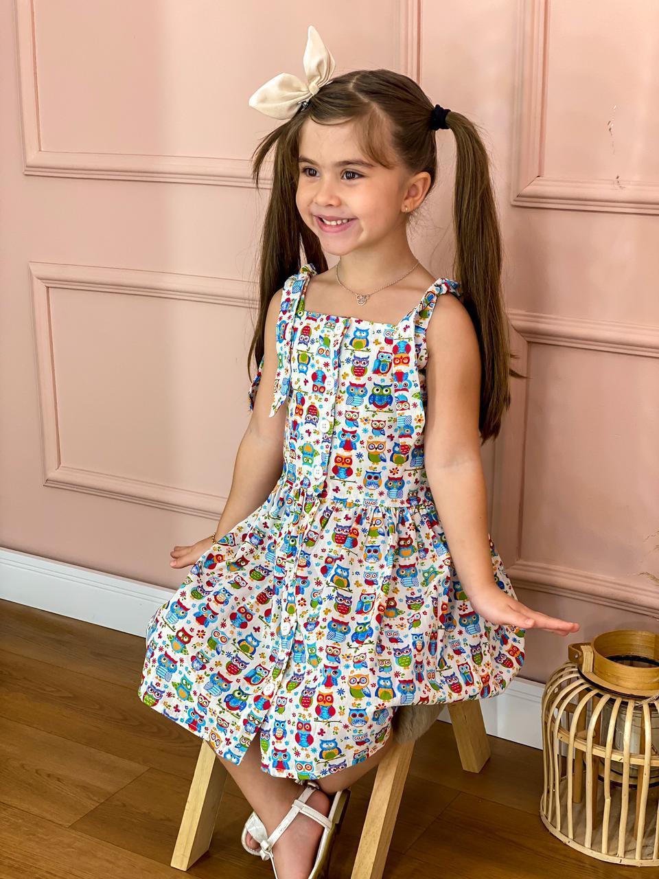 Vestido Infantil De Botão Estampado Franzido De Tricoline Menina Sapeca