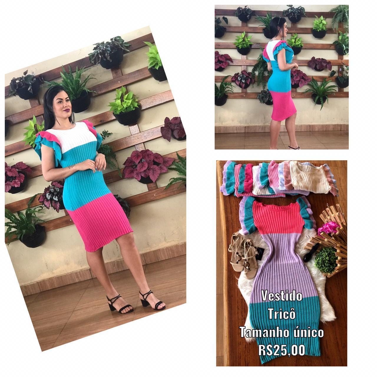 Vestido de tricô - FLOR AZUL
