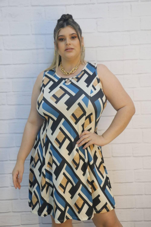 Vestido Evasé Cavado Plus Size Estampado Suplex Maximu's