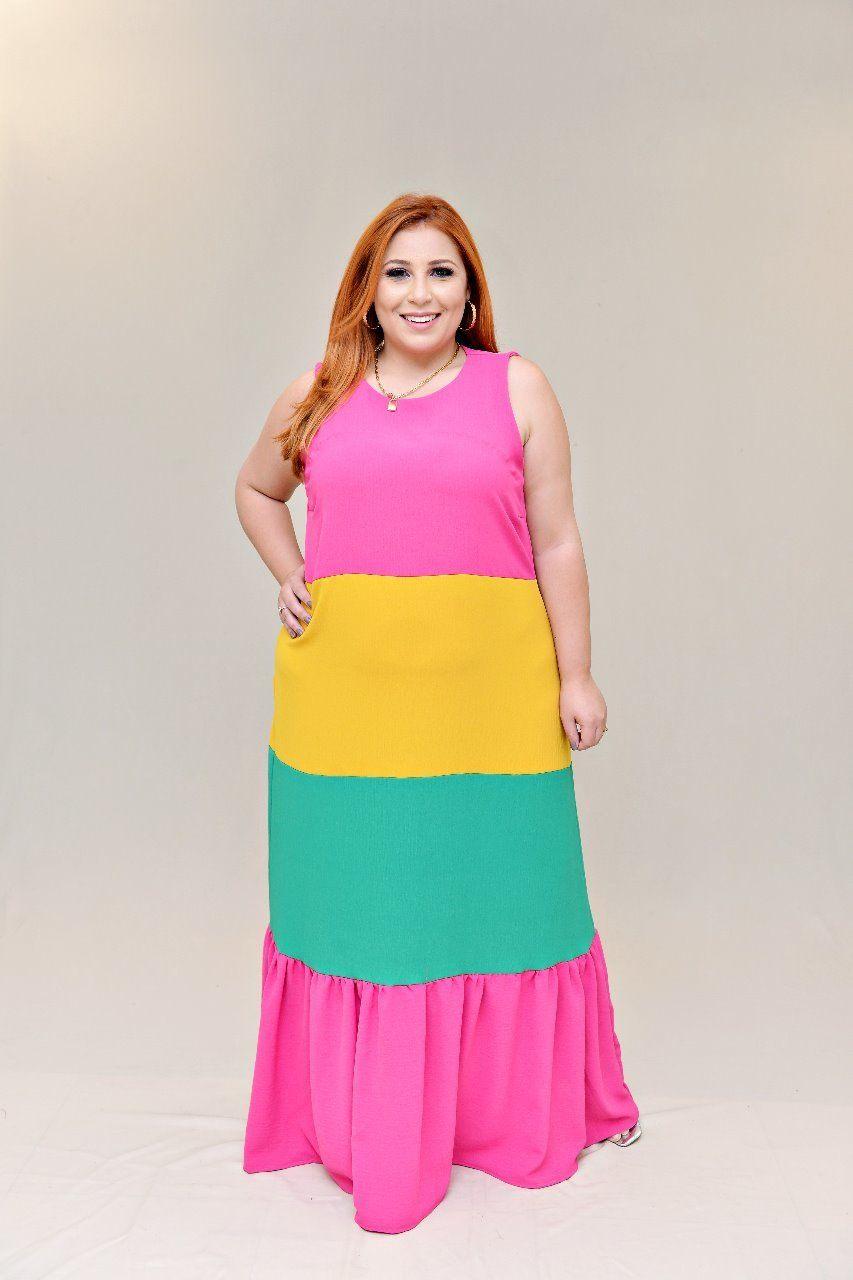 Vestido Faixas Coloridas - Alkavina Moda Plus Size