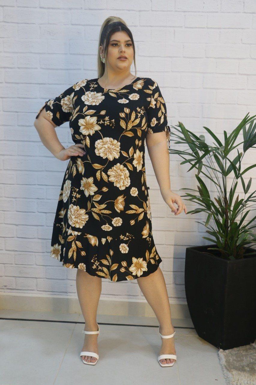 Vestido Floral com Amarração na Manga Visco Linho Macadâmia Fashion