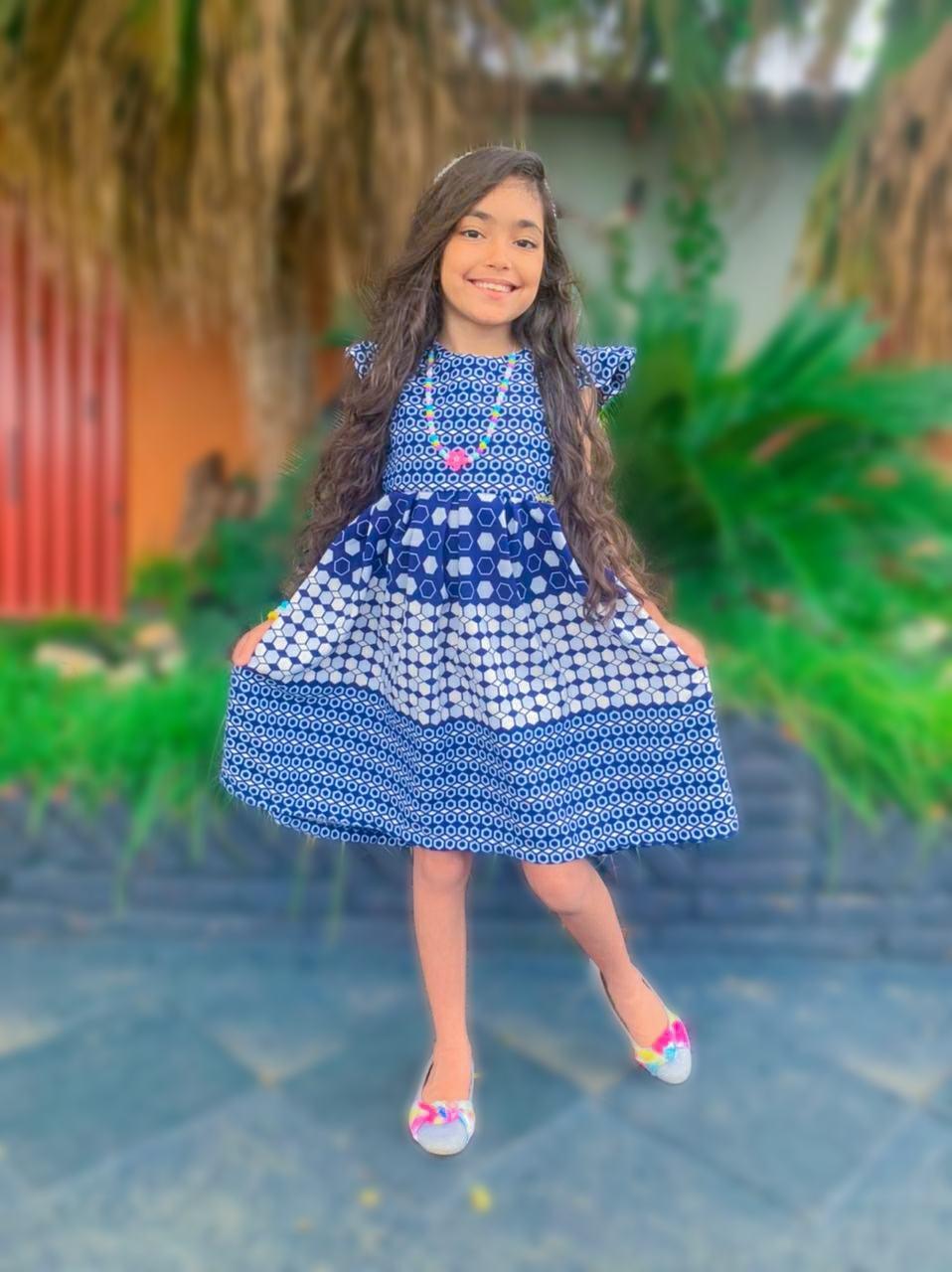 Vestido Infantil Bolado Azul e Marrom Daj Kids