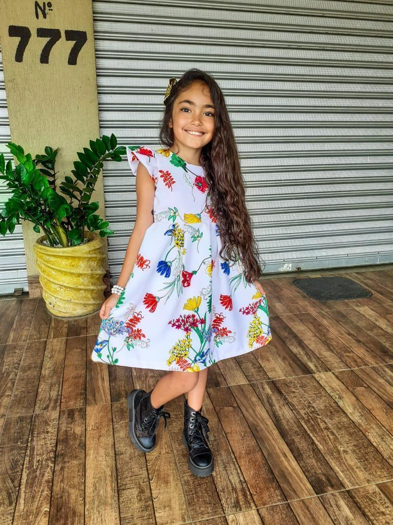 Vestido Infantil Feminino Pregas Crepe Alfaiataria Daj Kids