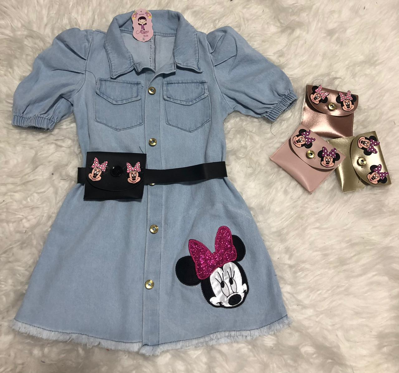 Vestido Infantil Jeans com Pochete Minnie Passarinho Kids