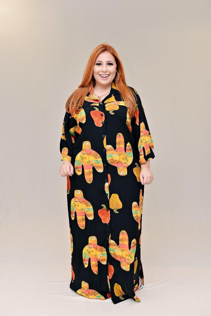 Vestido longo estampa cactos - Alkavina Moda Plus Size
