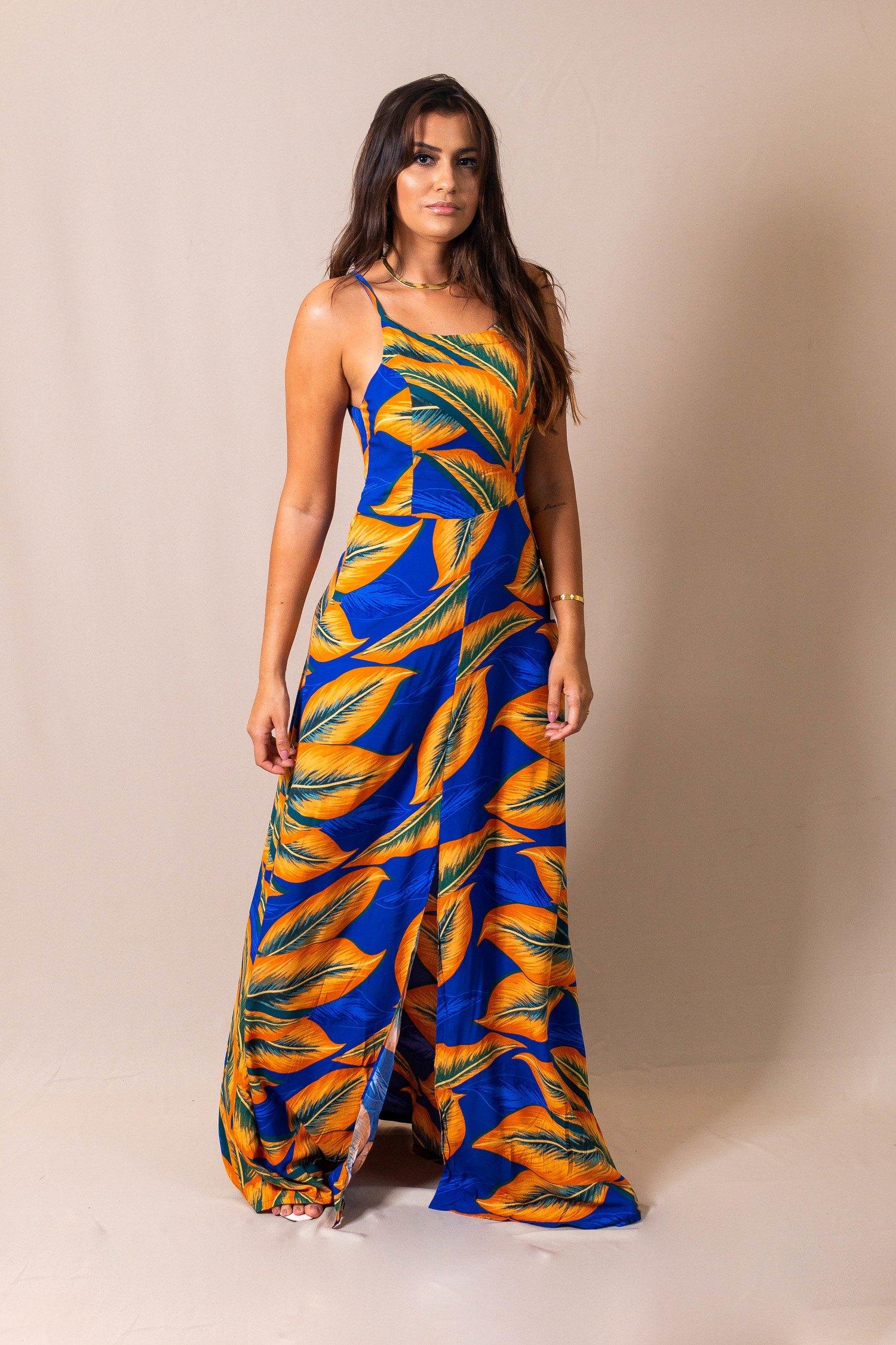 Vestido Longo Azul Estampa Folhas Laranja Pitanga Doce
