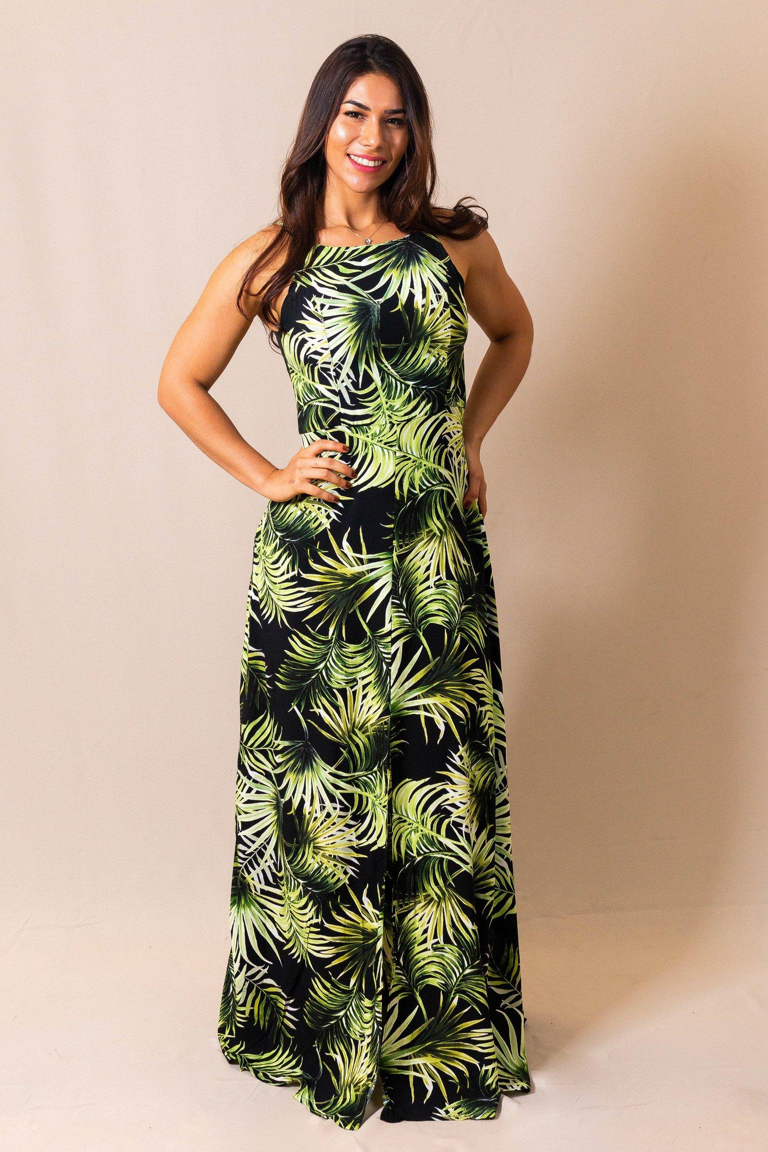 Vestido Longo Preto Estampa Folhas Verdes Pitanga Doce