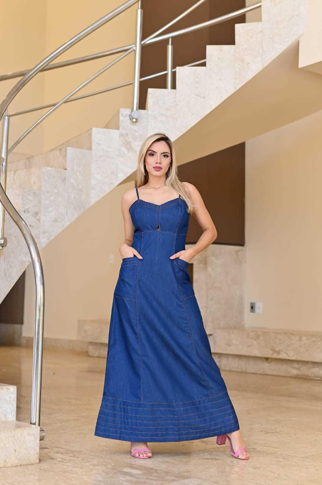 Vestido Longo Jeans Escuro Recorte Vazado e Costura Prespontada Omni Vinci