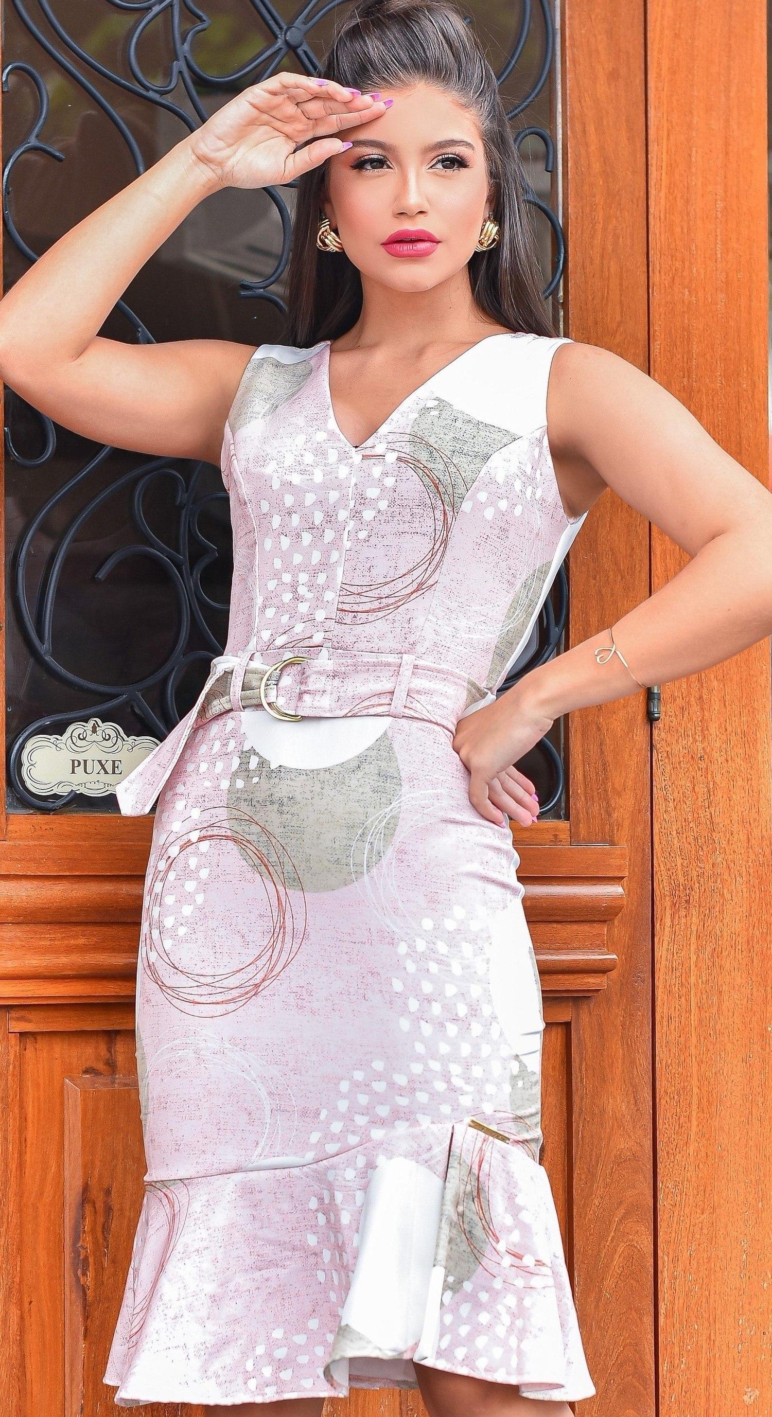 Vestido Mid com babado - MISTURA FINA