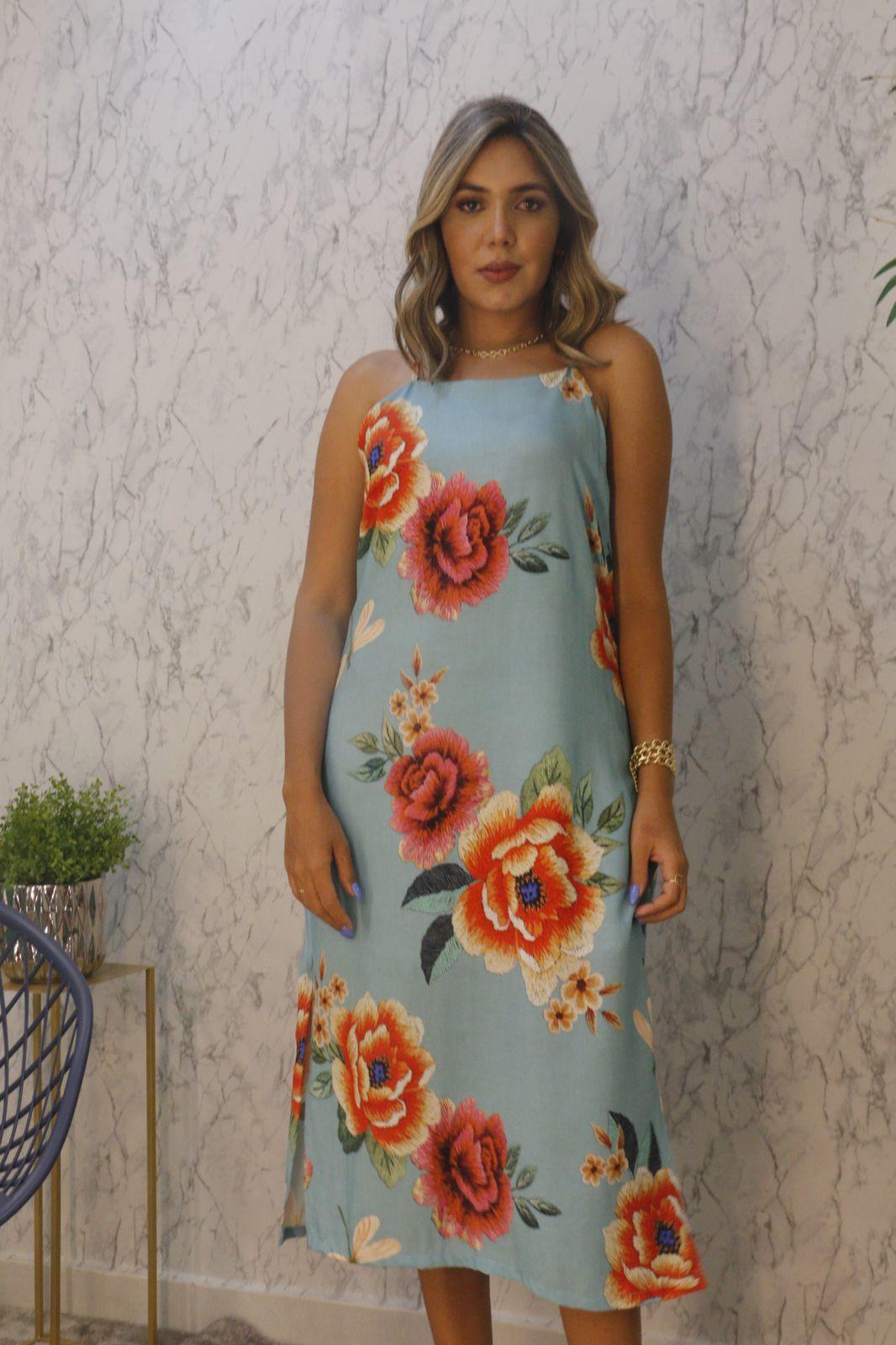 Vestido Midi Reto com Alça e Fenda Lateral Estampado Florê Brasil
