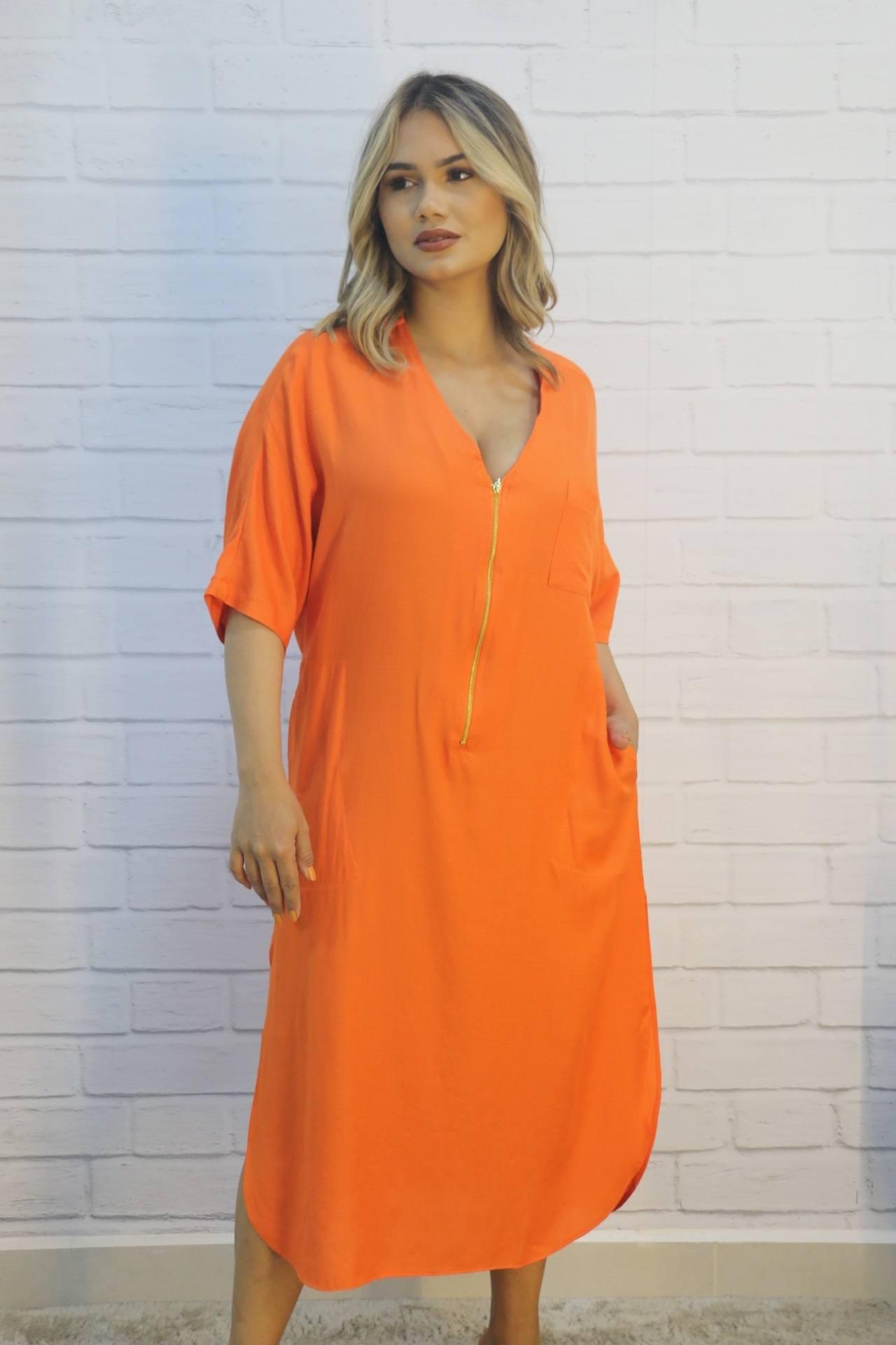 Vestido Túnica Modelagem Solta com Zíper no Decote Amarelo Mix