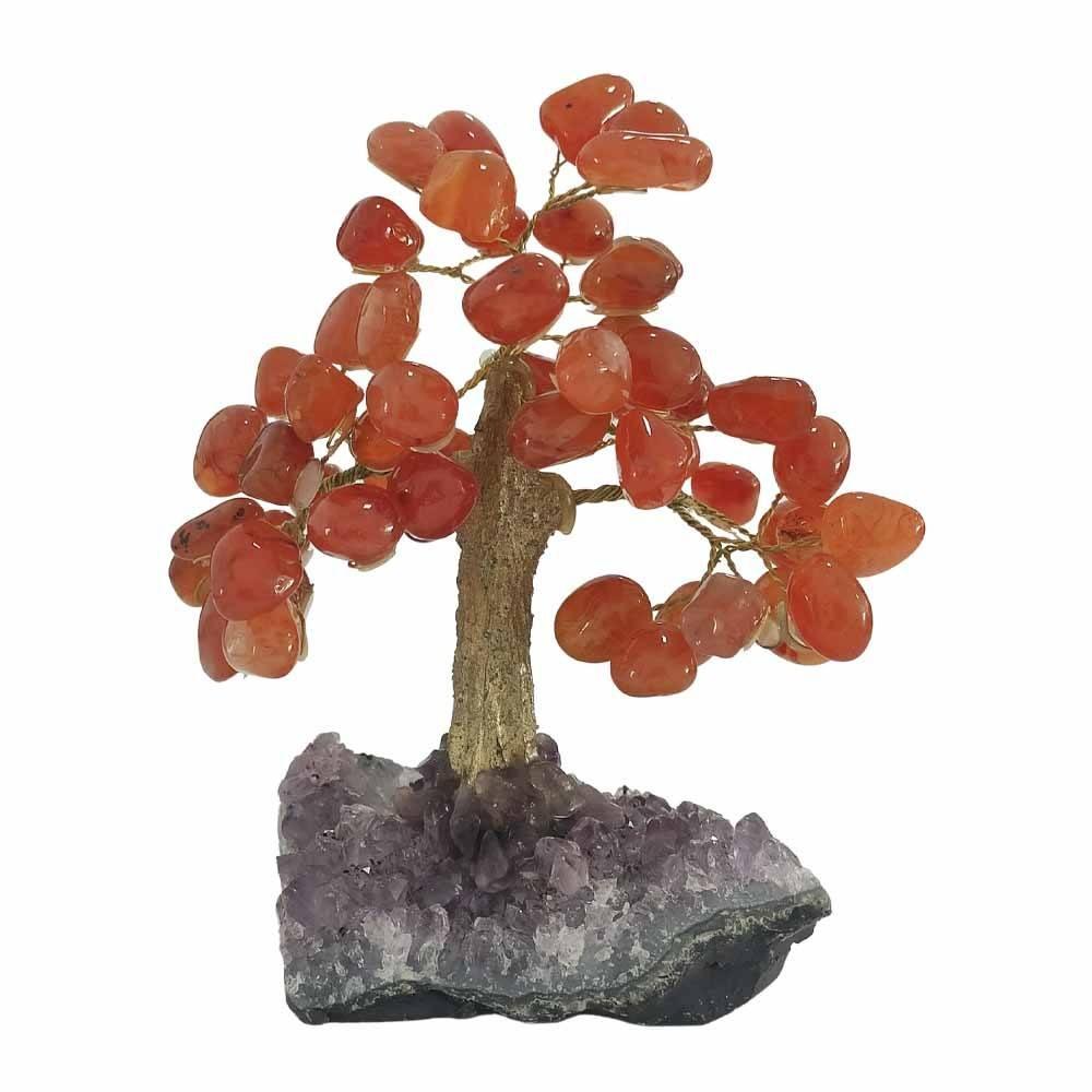 Árvore de Pedra Ágata Cornalina Base Ametista Tronco Dourado