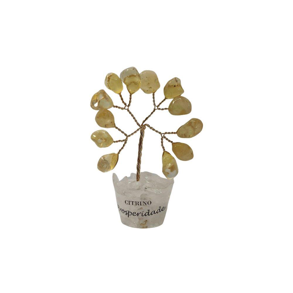 Árvore de Pedra Citrino Base Cristais 7cm - Prosperidade