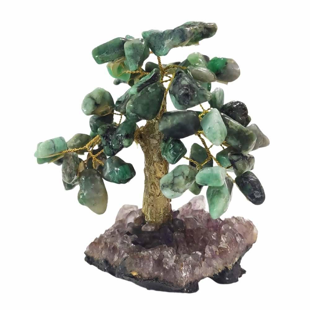 Árvore de Pedra Esmeralda Base Ametista Tronco Dourado 13cm