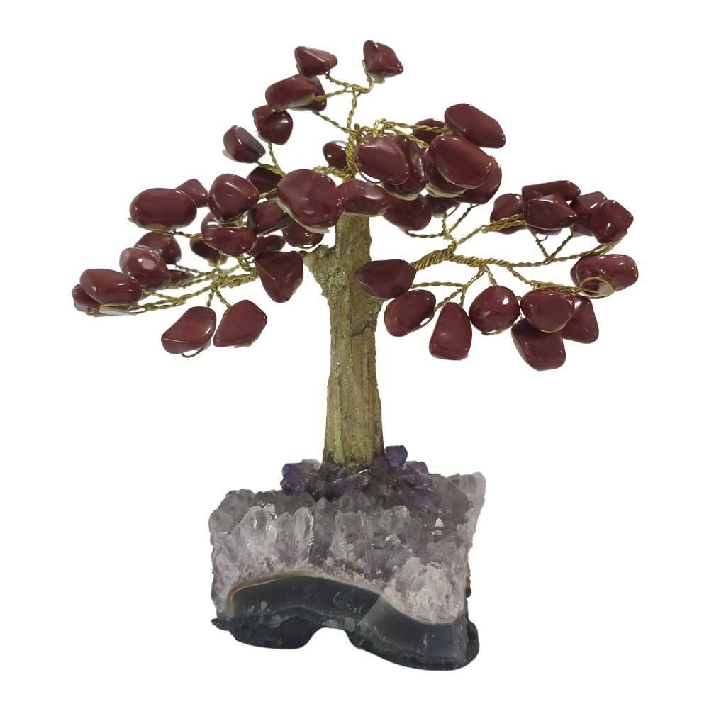 Árvore de Pedra Jaspe Base Ametista Tronco Dourado 13cm