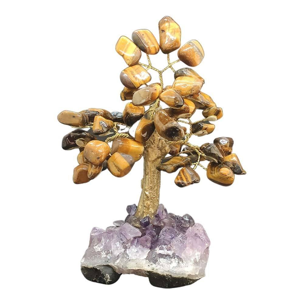 Árvore de Pedra Olho de Tigre Base Ametista Tronco Dourado 13cm