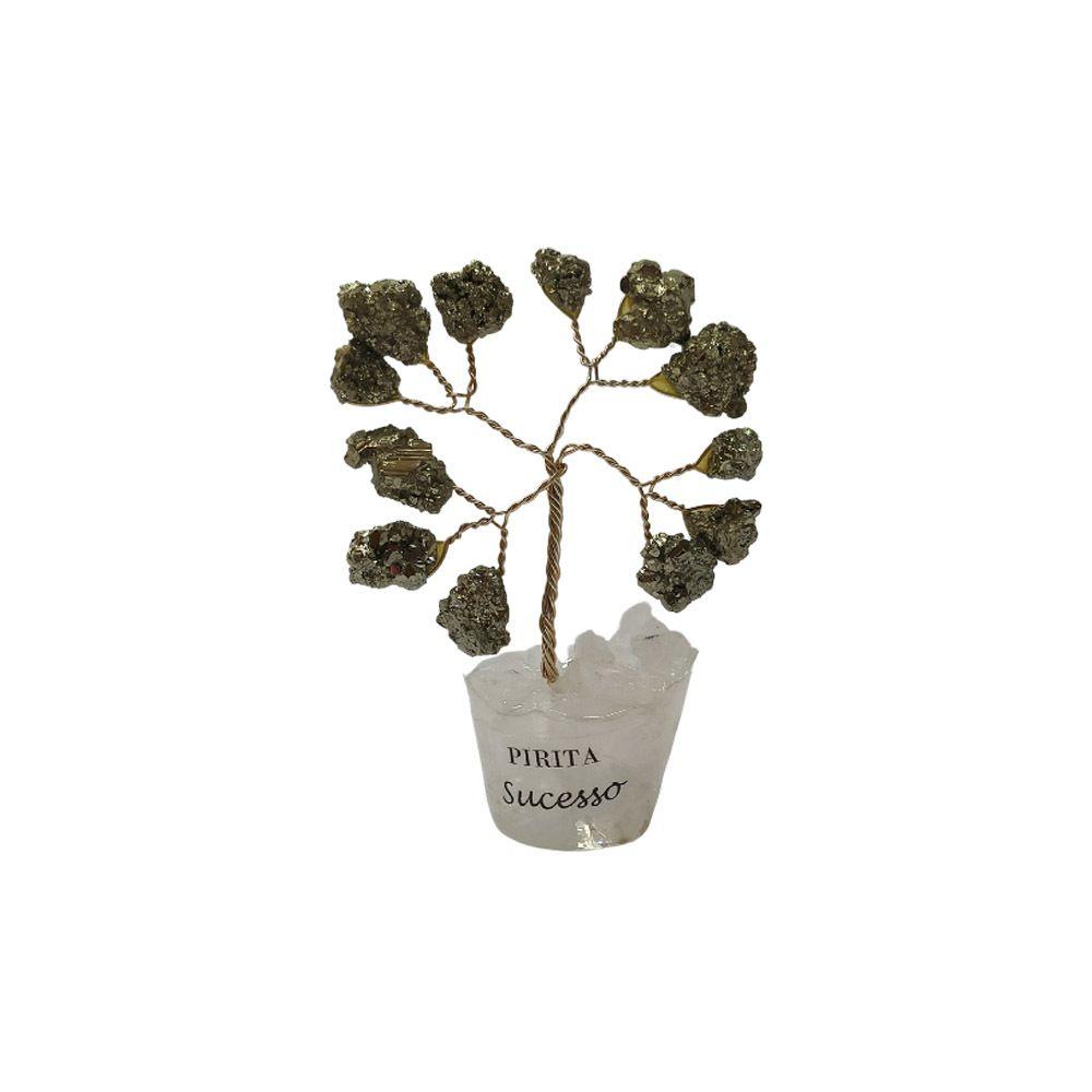 Árvore de Pedra Pirita Base Cristais 7cm - Sucesso