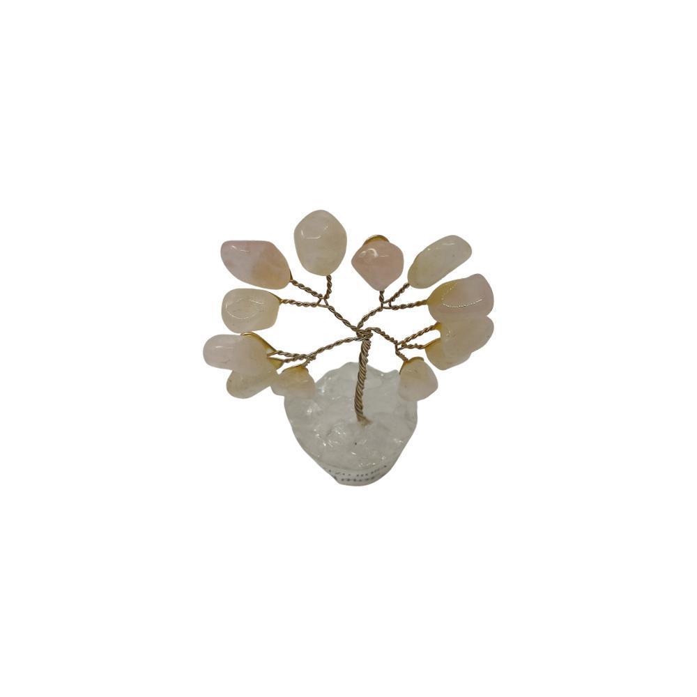 Árvore de Pedra Quartzo Rosa Base Cristais 7cm - Amor