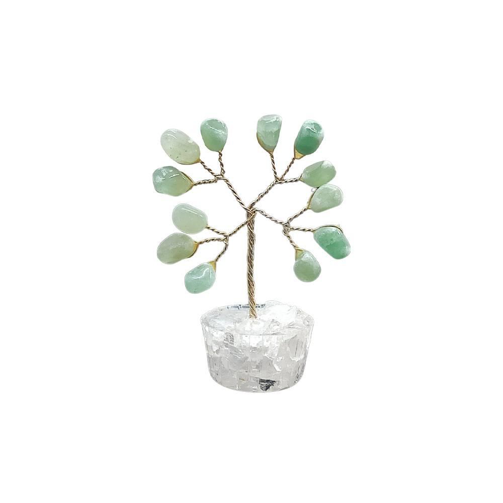 Árvore de Pedra Quartzo Verde Base Cristais 7cm - Saúde
