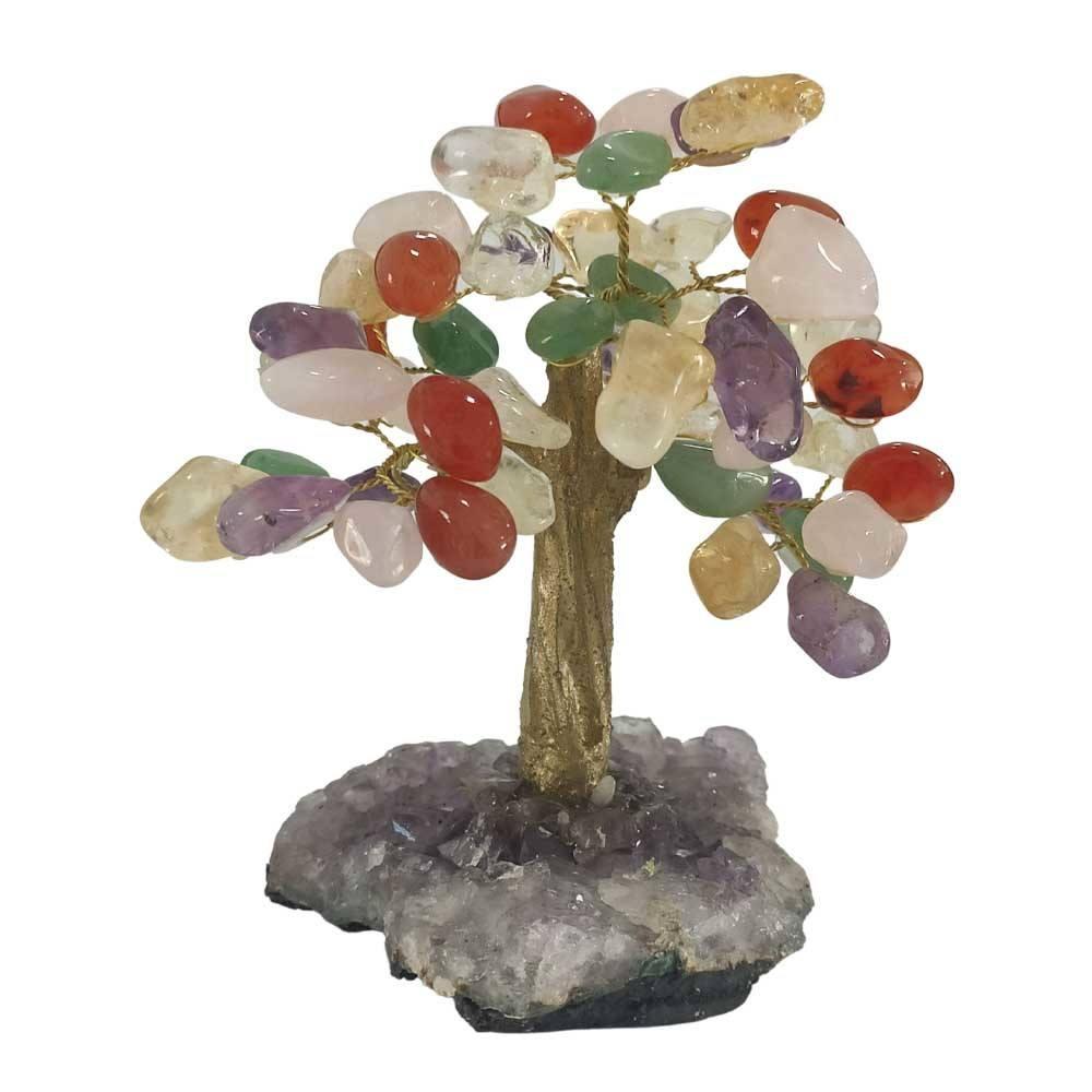 Árvore de Pedras Mistas Base Ametista Tronco Dourado 13cm