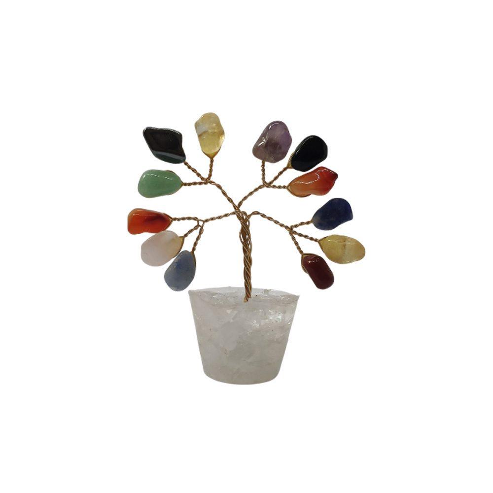 Árvore de Pedras Mistas Base Cristais 7cm