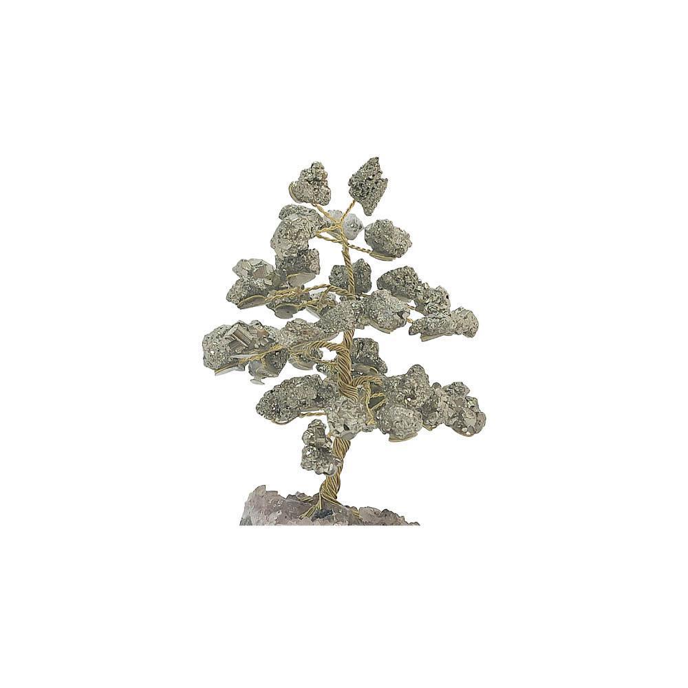 Árvore de Pedra Pirita Base Ametista 10cm - Sucesso