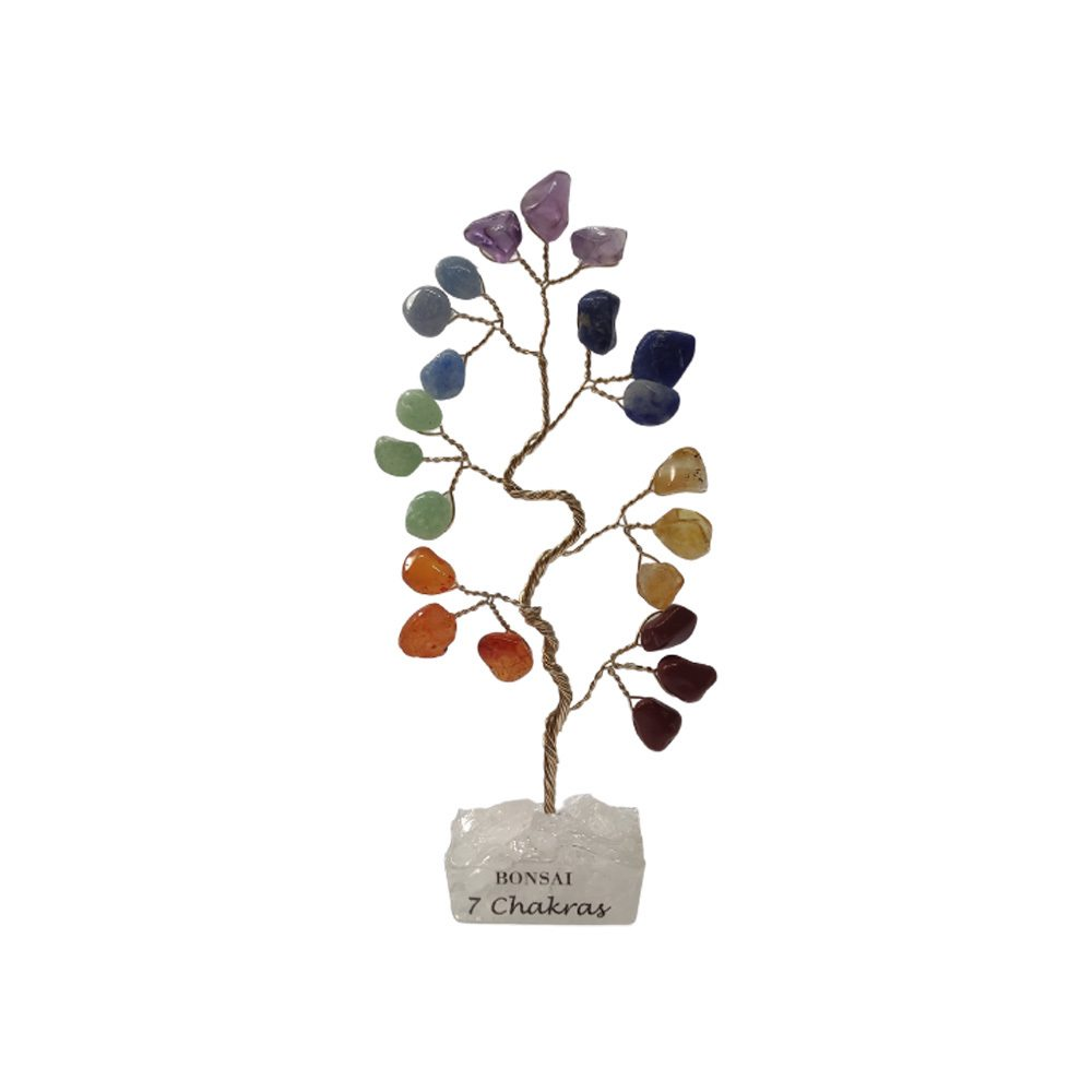 Bonsai Pedra 7 Chakras Base Cristais 10cm