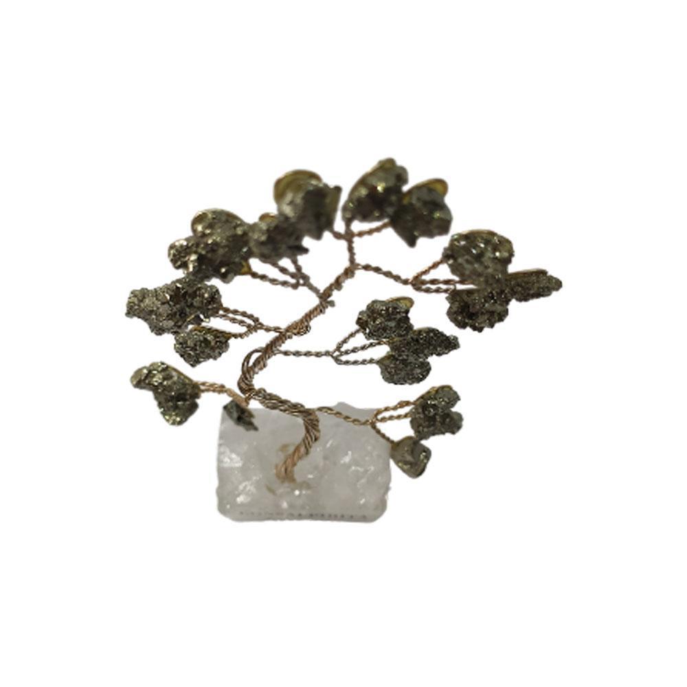 Bonsai Pedra Pirita Base Cristais 10cm - Sucesso