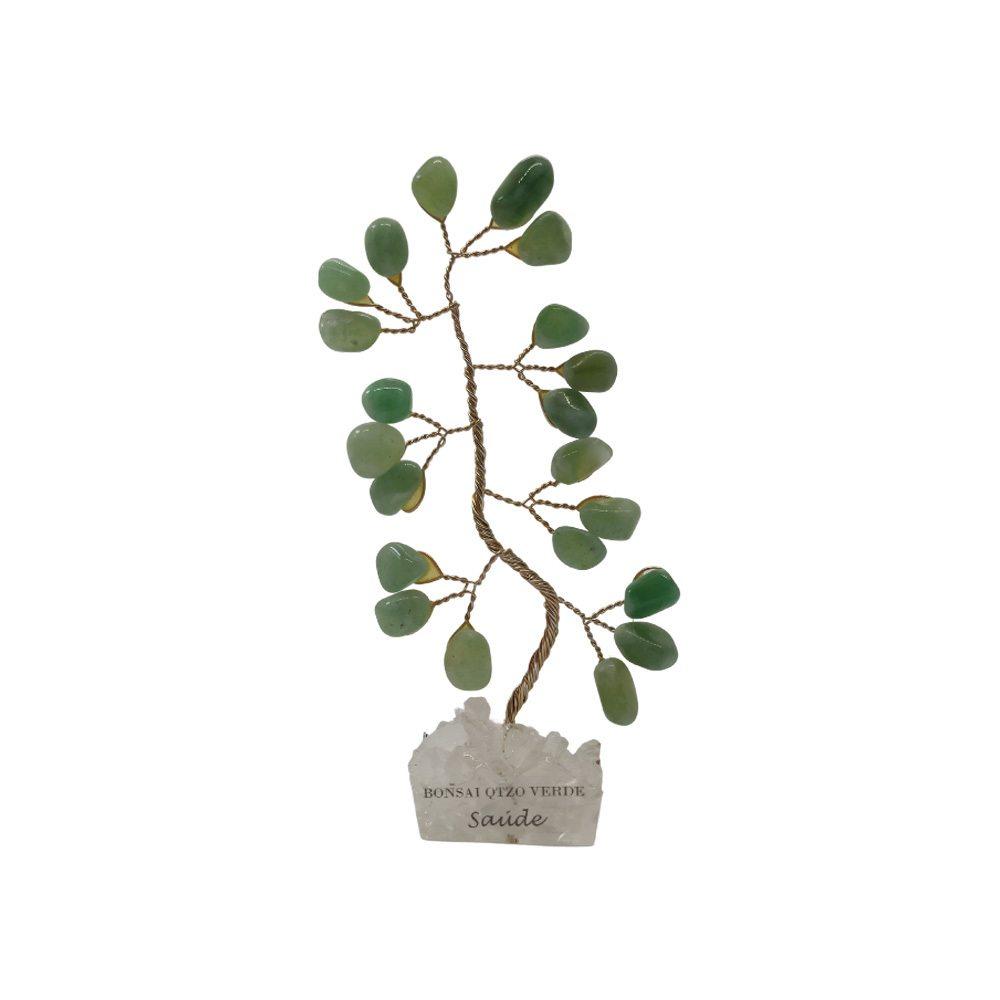 Bonsai Pedra Quartzo Verde Base Cristais 10cm - Saúde
