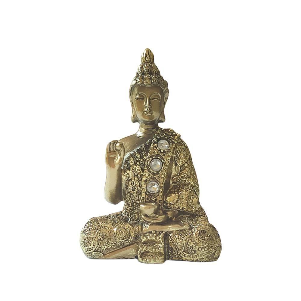 Buda com Pedras P Dourado -  Mão Direita com Bolinha
