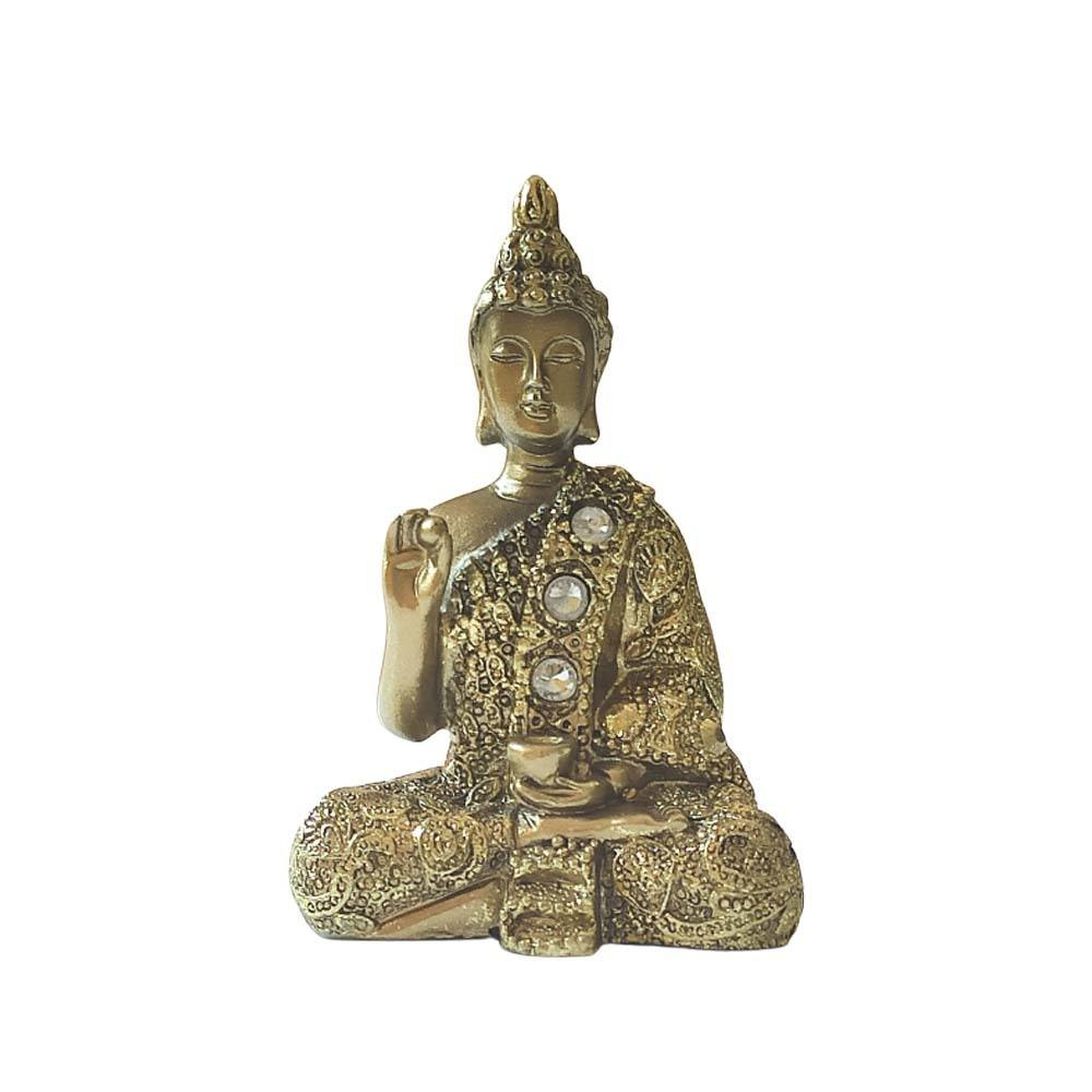 Buda Vitarka Mudra Fase de ensinamento - Dourado 10cm