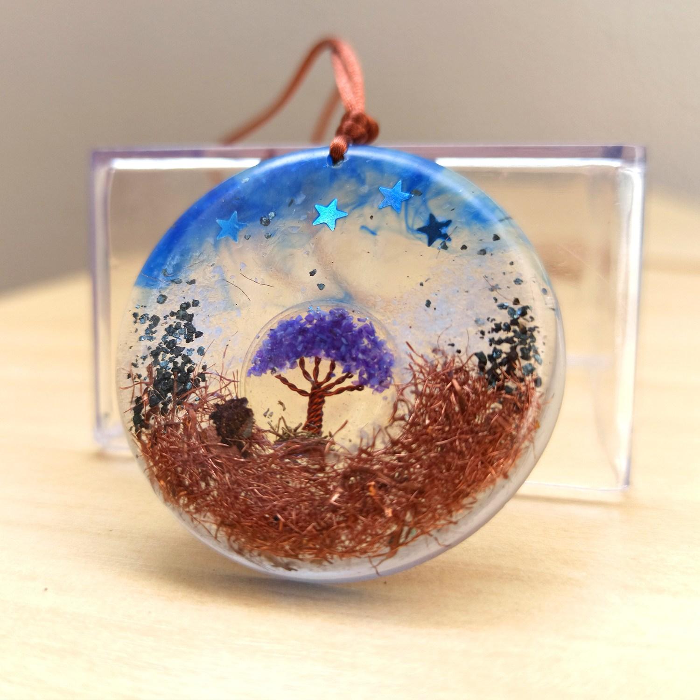 Colar de Orgonite - Árvore da Vida Azul