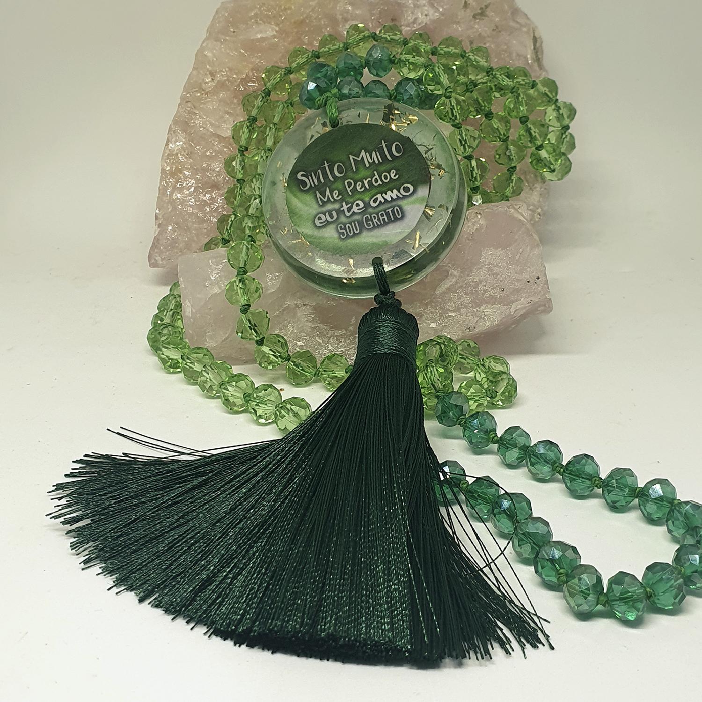 Colar Ho'oponopono Verde com Orgonite